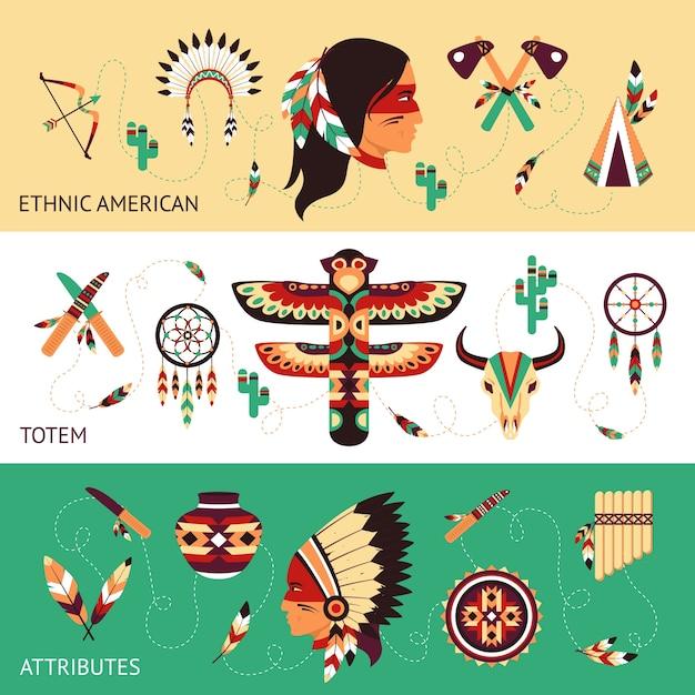 Баннеры концепции этнического дизайна Бесплатные векторы