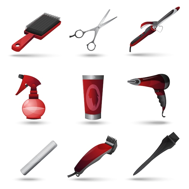 Набор парикмахерских иконок Бесплатные векторы