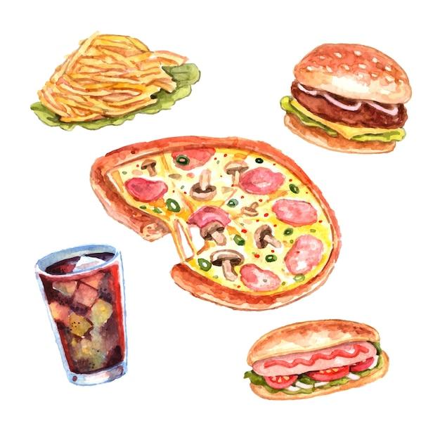 Набор обеденных блюд с акварелью Бесплатные векторы