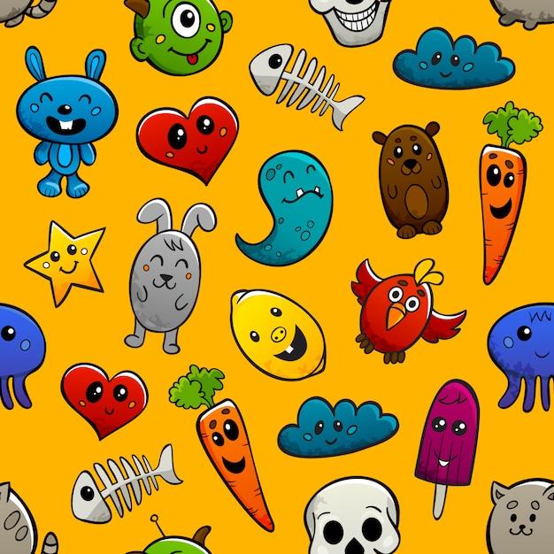 Граффити персонажей бесшовные орнамент Бесплатные векторы