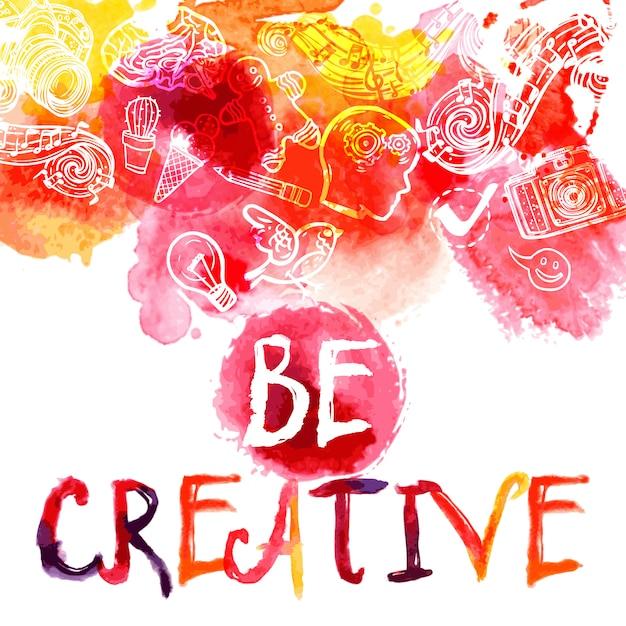 創造性の水彩画のコンセプト 無料ベクター