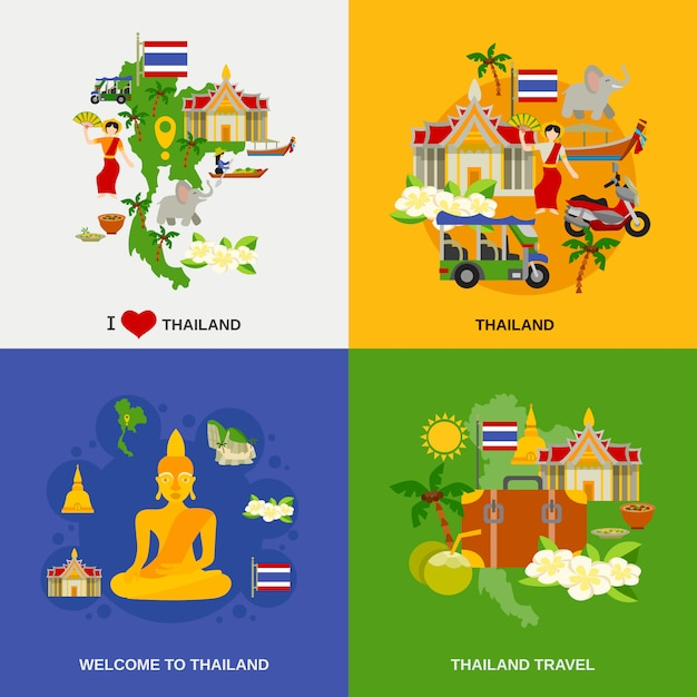 タイの観光用アイコンの設定 無料ベクター