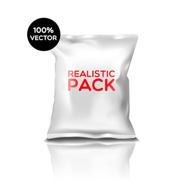 現実的なパックを備えた白いポリエチレン密閉バッグ 無料ベクター
