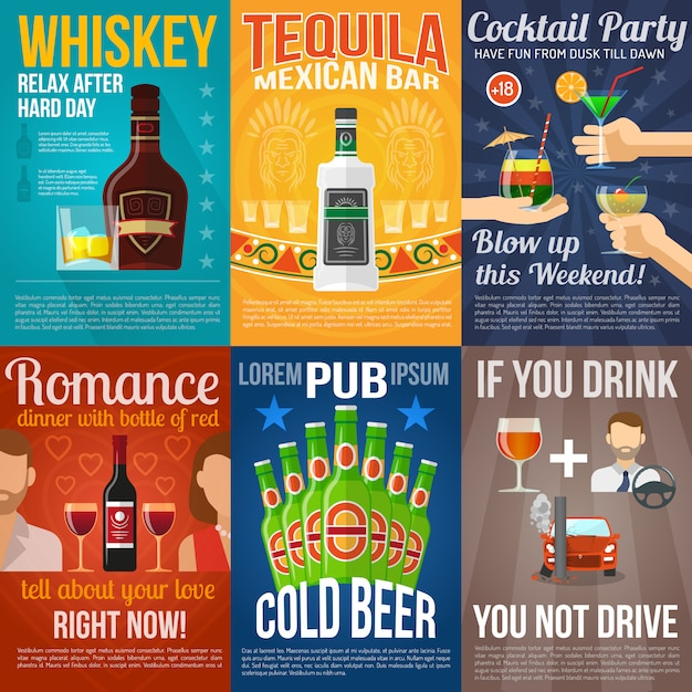 Алкогольные мини-плакаты Бесплатные векторы