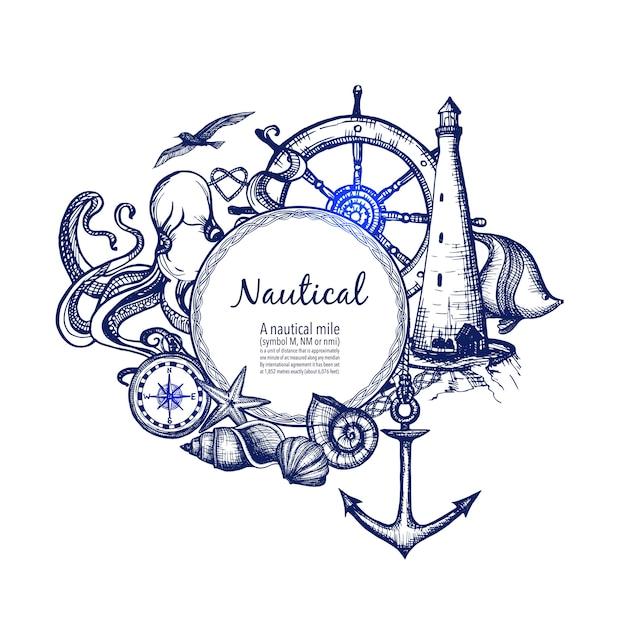 Морской морской состав значок каракули Бесплатные векторы