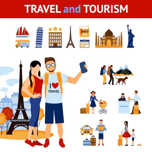 Набор для путешествий и туризма Бесплатные векторы