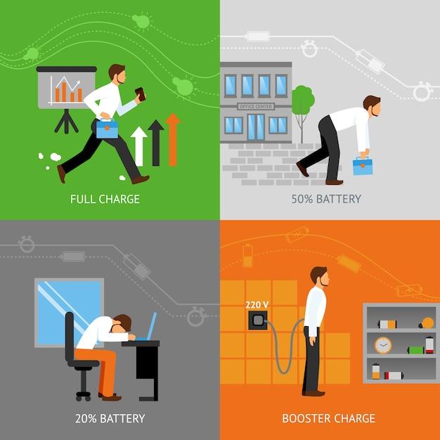 ビジネスマンのエネルギーコンセプト 無料ベクター
