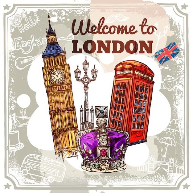 Лондонский эскизный плакат Бесплатные векторы