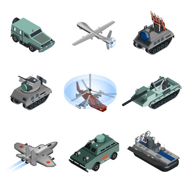 Военная техника изометрическая Бесплатные векторы