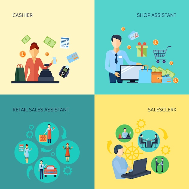 レジ係の店員ショップアシスタントと小売セールスアシスタントのセット 無料ベクター