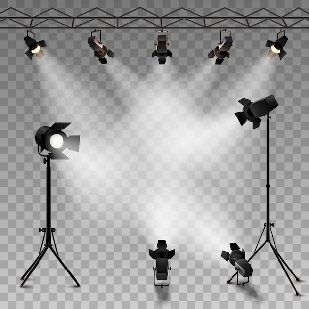 ショーコンテストまたはインタビューのためのスポットライト現実的な透明な背景 無料ベクター