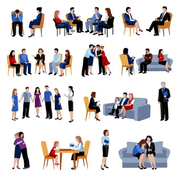Консультация и лечение проблем семьи и взаимоотношений с помощью плоских значков группы поддержки Бесплатные векторы