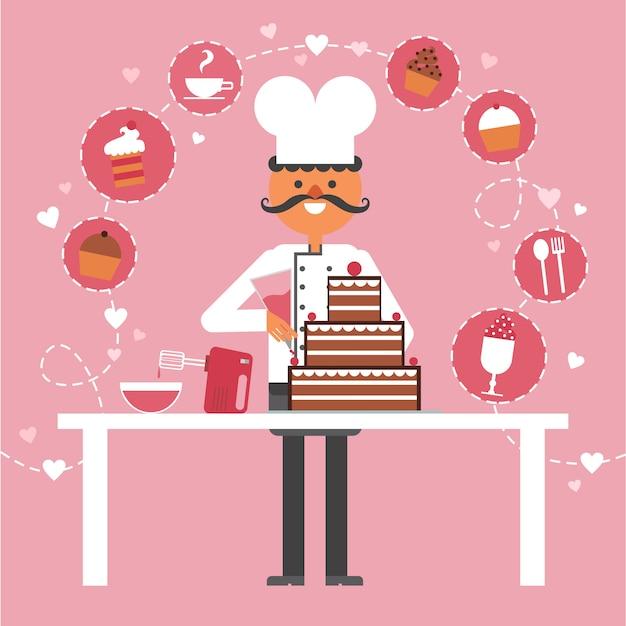 菓子とペストリーのコンセプトの背景 無料ベクター