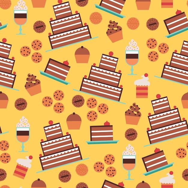 菓子とケーキ、デザートと黄色の背景にクッキーとシームレスなパターン 無料ベクター