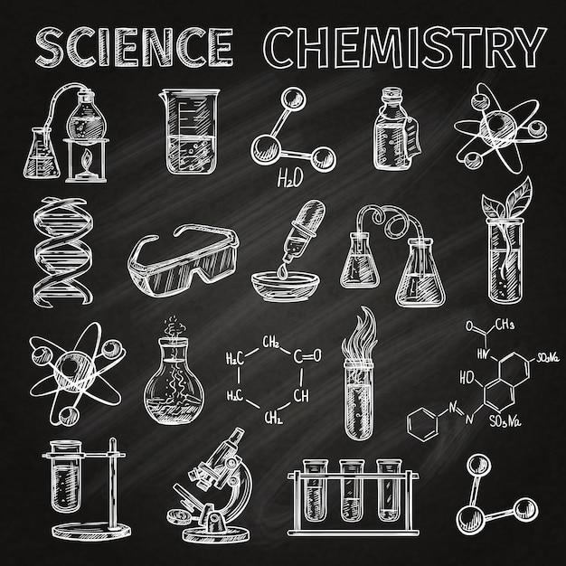 科学と化学スケッチの黒板のアイコン要素の組み合わせで設定 無料ベクター