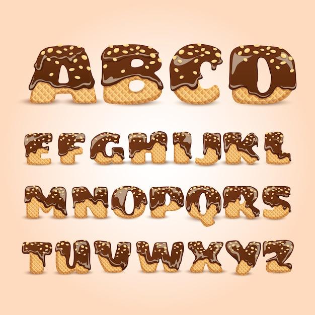曇ったチョコレートのワッフルアルファベットの手紙セット 無料ベクター