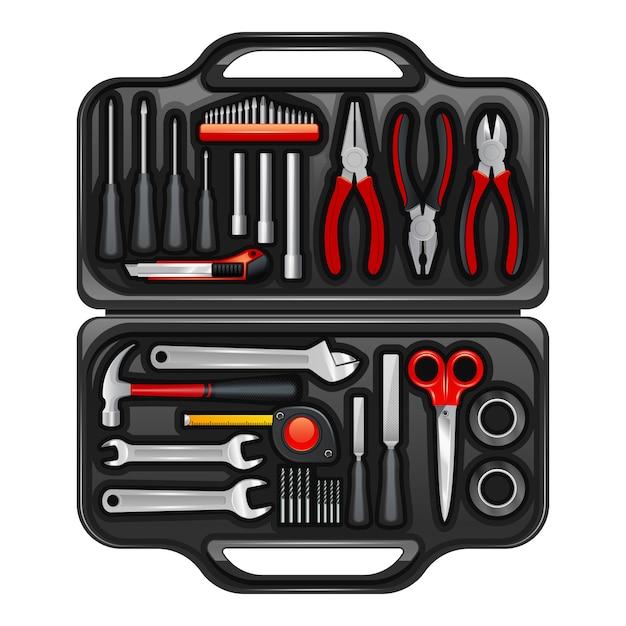 保管と持ち運び用具と道具を保管するための黒いプラスチックのツールキットボックス 無料ベクター