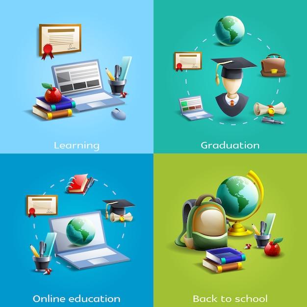 教育と学習のアイコンが設定されています 無料ベクター