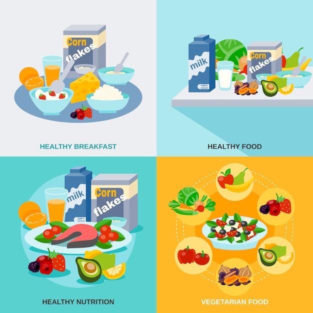 健康食品フラットセット 無料ベクター