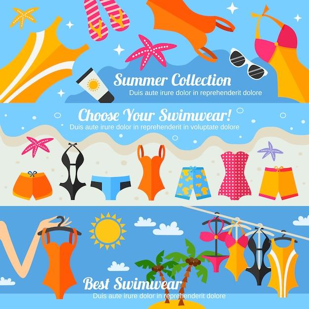 Набор плоских баннеров для купальников Бесплатные векторы