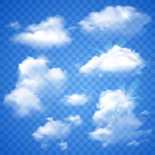Прозрачные облака на синем Бесплатные векторы