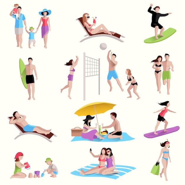 Люди на пляже иконы Бесплатные векторы