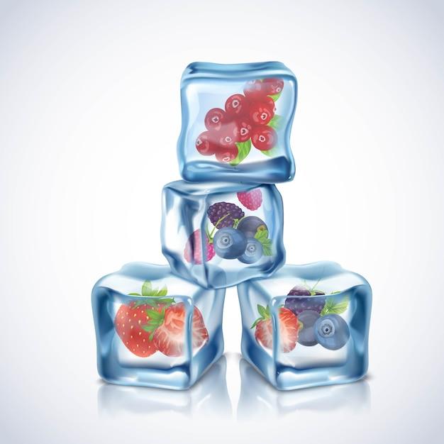 現実的な透明な青いアイスキューブ、果実内部 無料ベクター