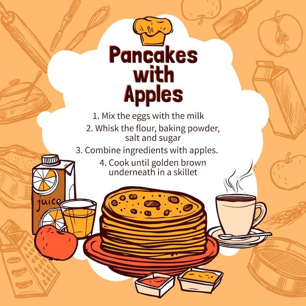 アップルパンケーキのスケッチレシピ 無料ベクター