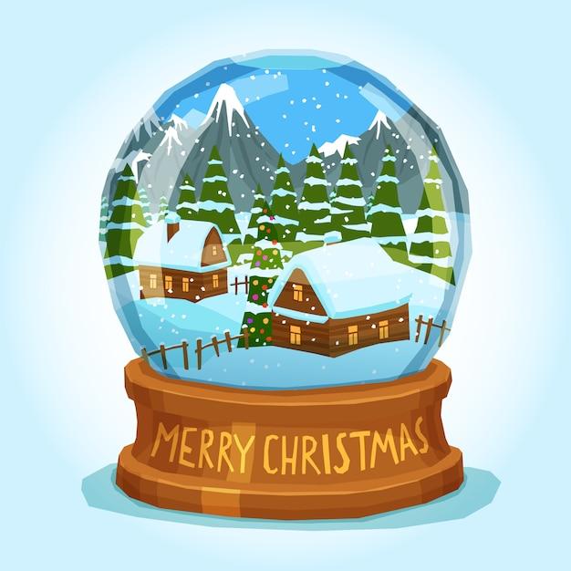 スノーグローブメリークリスマスカード 無料ベクター