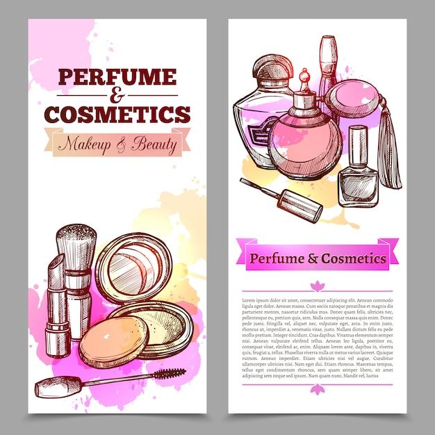 香水と化粧品の縦型バナー 無料ベクター