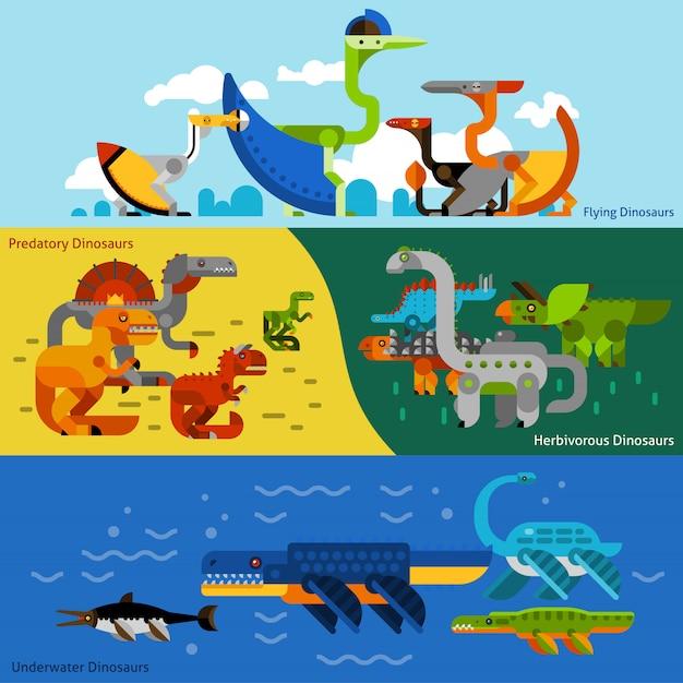 恐竜バナーセット 無料ベクター