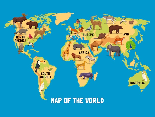 動物世界地図 無料ベクター