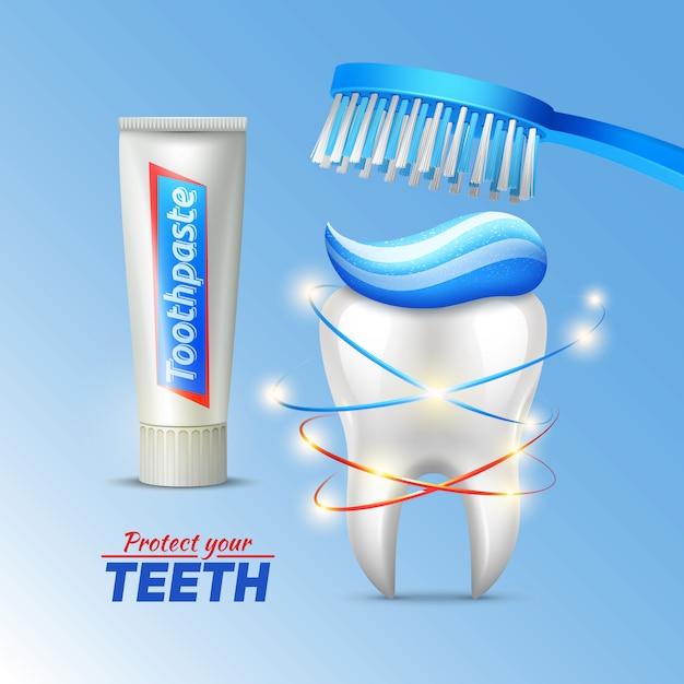 歯ブラシの歯磨き粉と歯の衛生のコンセプト、歯の保護 無料ベクター