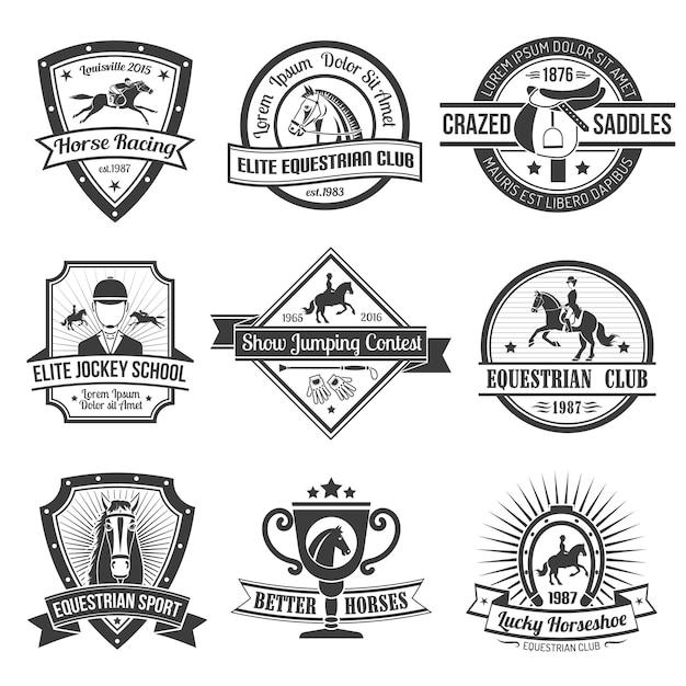 Комплект эмблем конного спорта Бесплатные векторы