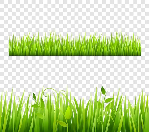 植物と透明な緑色と明るい草の境界線のタイル 無料ベクター