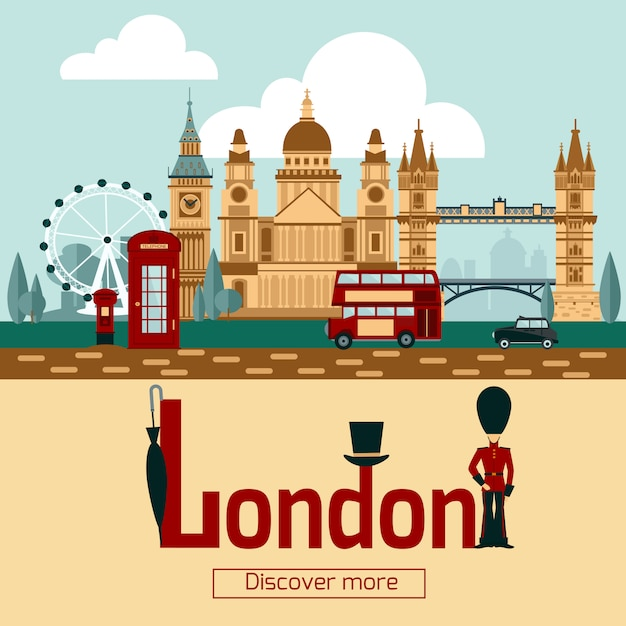 Лондонский туристический плакат Бесплатные векторы
