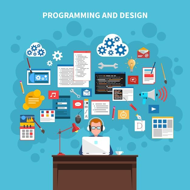 プログラミング概念図 無料ベクター