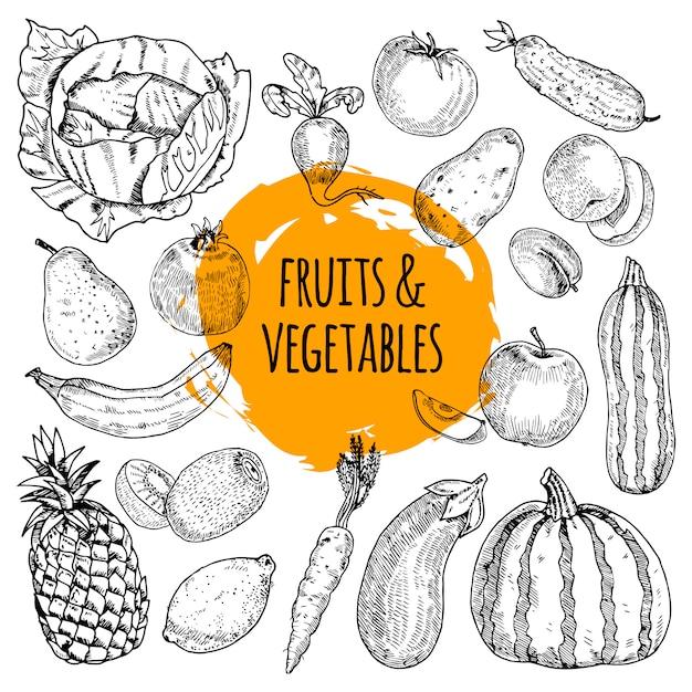 果物と野菜のコレクションの健康な食事の絵文字の配列 無料ベクター