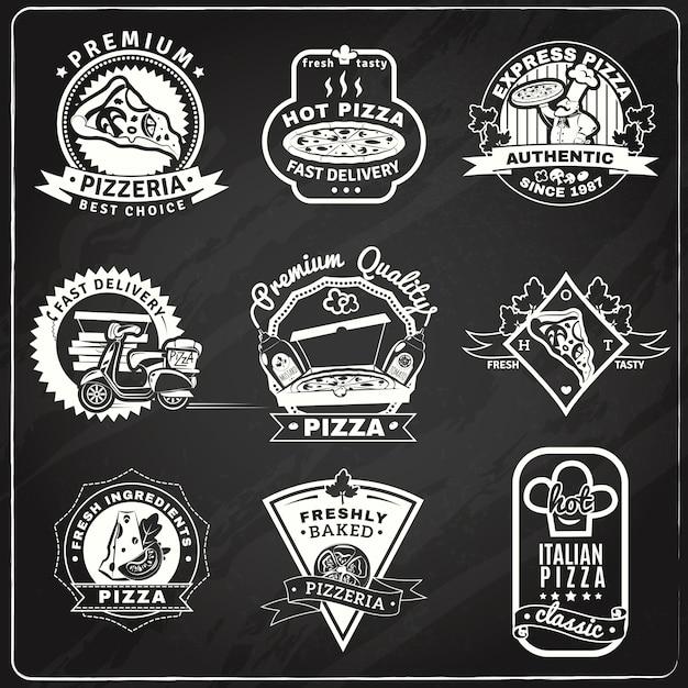 ピザの黒板のエンブレムセット 無料ベクター
