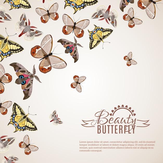 蝶の現実的な背景 無料ベクター