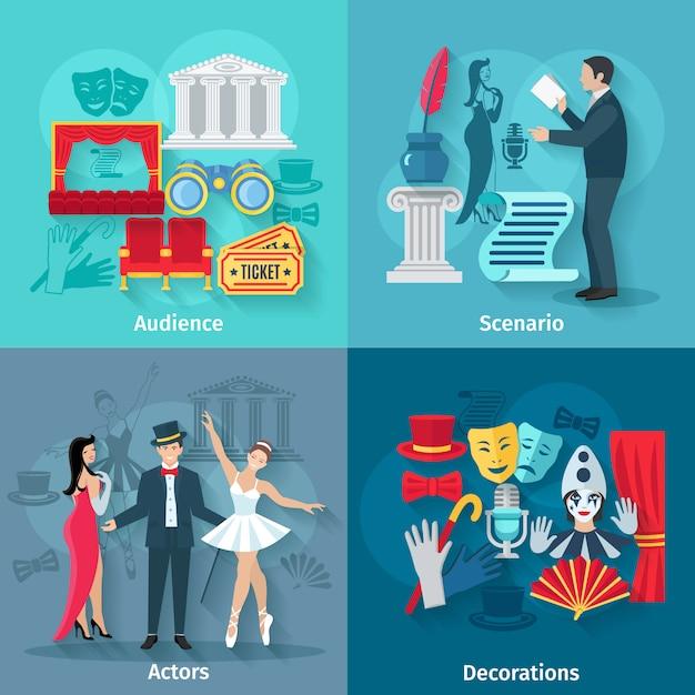 観客のシナリオの俳優と装飾を用いて設定されたシアターコンセプト 無料ベクター
