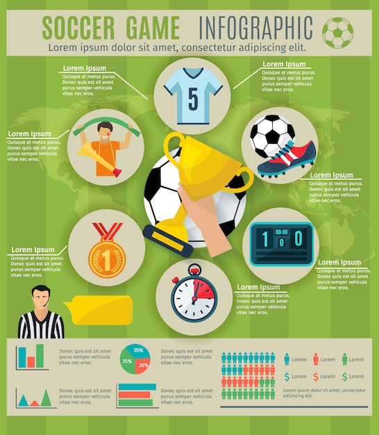 スポーツトロフィーのシンボルとチャートを含むサッカーゲームのインフォグラフィックセット 無料ベクター