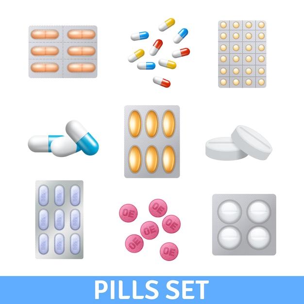 現実的な丸薬と異なる色の顆粒アイコンが設定 無料ベクター