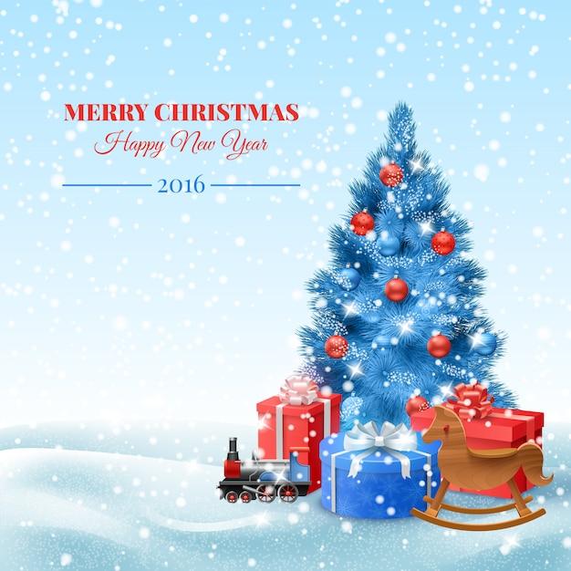 ギフトボックス付きクリスマスツリー 無料ベクター