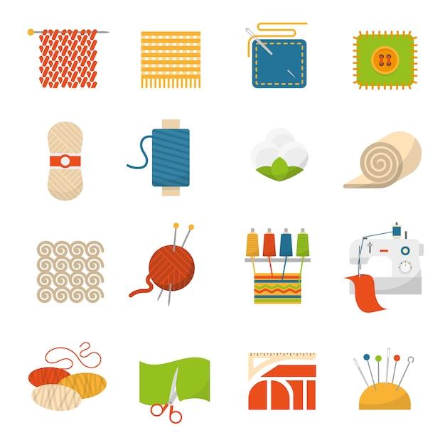 Иконки текстильной промышленности Бесплатные векторы