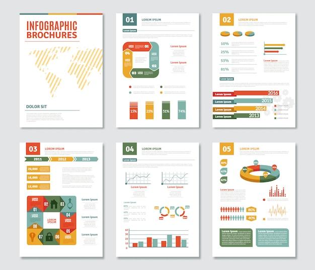 Набор инфографических брошюр Бесплатные векторы