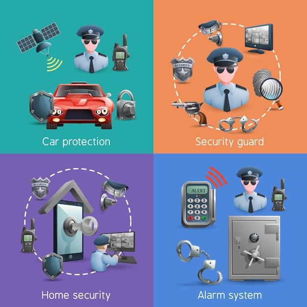 Набор концепции безопасности Бесплатные векторы