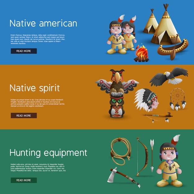 Индейские баннеры с национальными атрибутами Бесплатные векторы