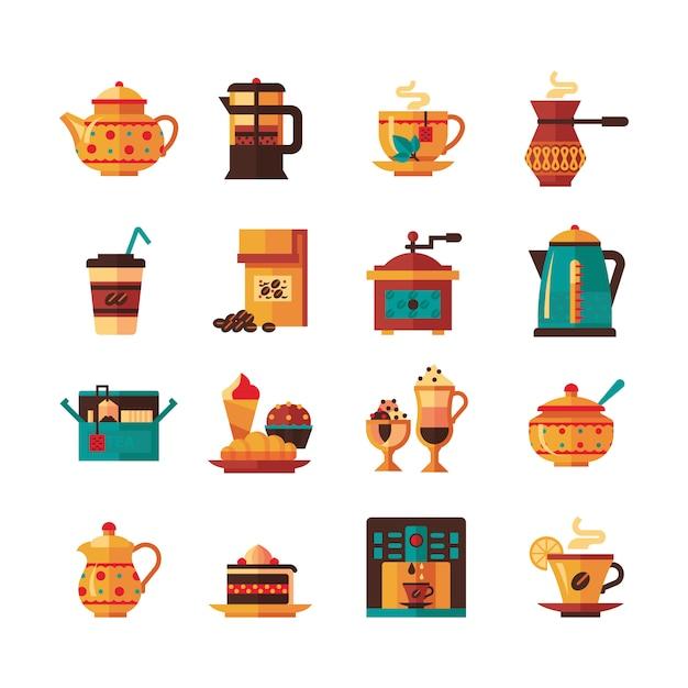 コーヒーと紅茶のアイコンがフラット 無料ベクター