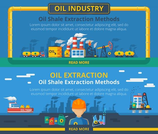 石油産業のバナーセット 無料ベクター